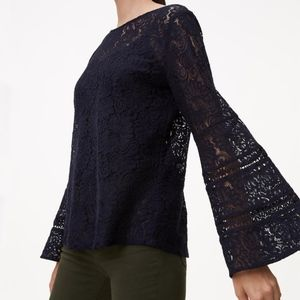 74b389f7525 LOFT Navy Lace Bell Sleeve Blouse Top NWT